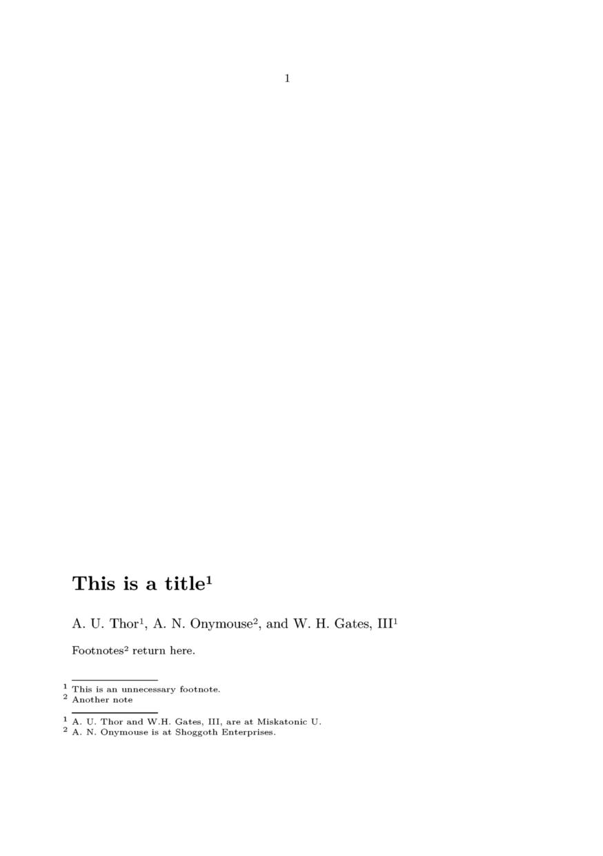 latex Footnote symbols